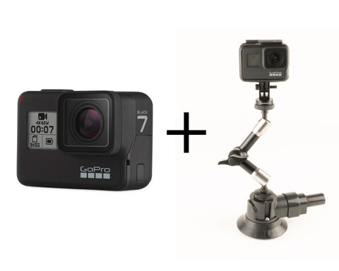GoPro Hero7 Black + NFlightCam Ultimate Action Camera Suction Cup Mount Package