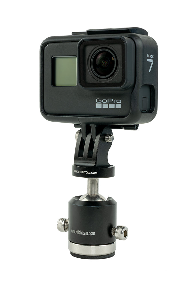 GoPro Hero7 Black mounted on NFlightCam Ball-Head aircraft mount.