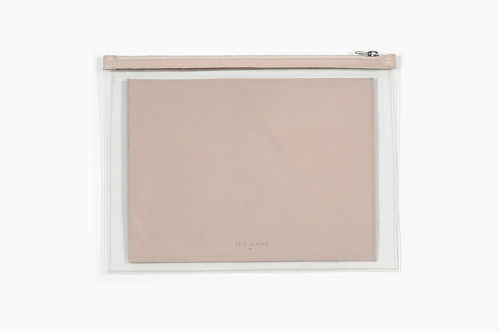 Photo of Death in Paris Vasistas Beige lamb nappa leather and clear pvc organizer clutch bag