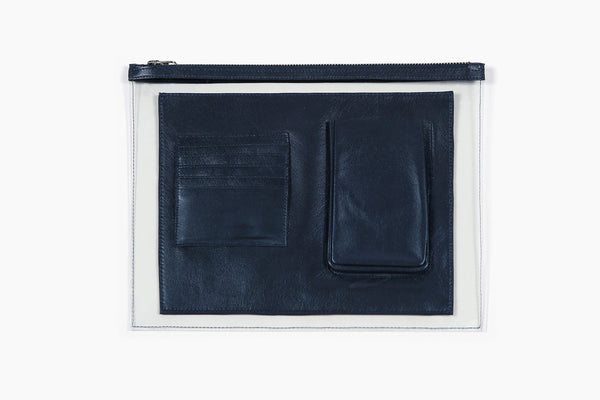 Photo of Death in Paris Vasistas Petrol metallic dark blue lamb nappa leather and clear pvc organizer clutch bag