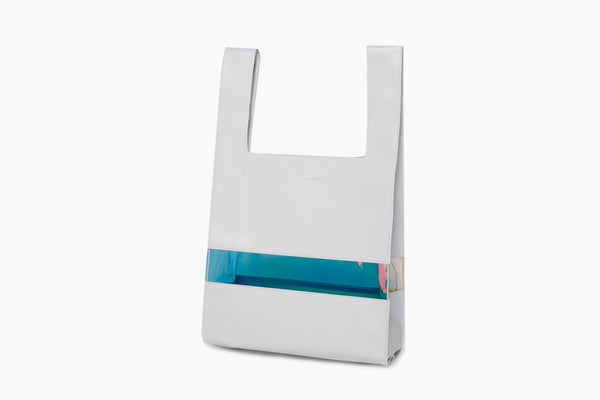 Photo of Death in Paris Horizon Blanc white nappa leather and holographic pvc shopper tote bag