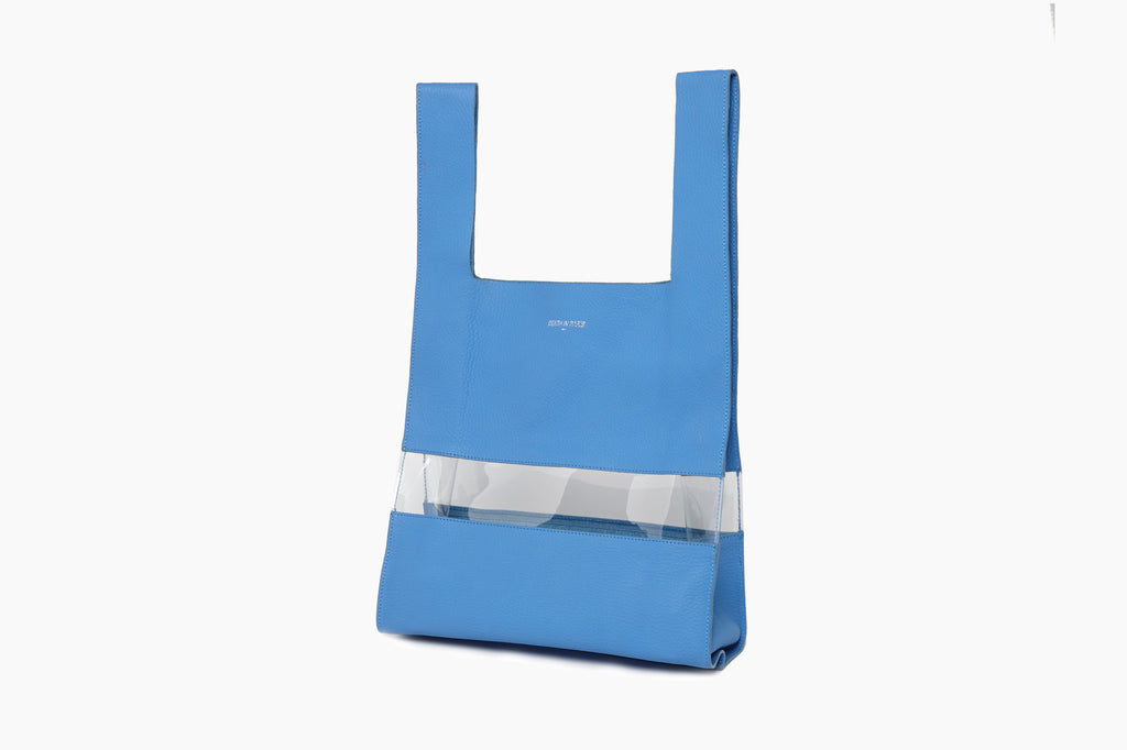 Photo of Death in Paris Horizon Bleu nappa leather and clear pvc shopper tote bag