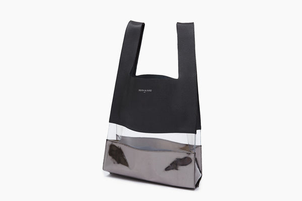 Photo of Death in Paris Horizon Noir Metal black nappa leather and clear pvc shopper tote bag