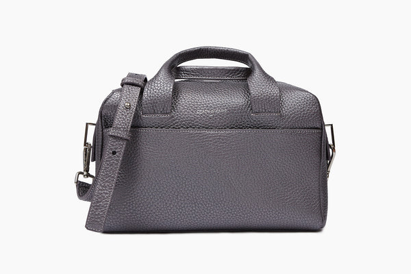 Photo of Death in Paris Malette Gunmetal metallic silver nappa leather bowling bag
