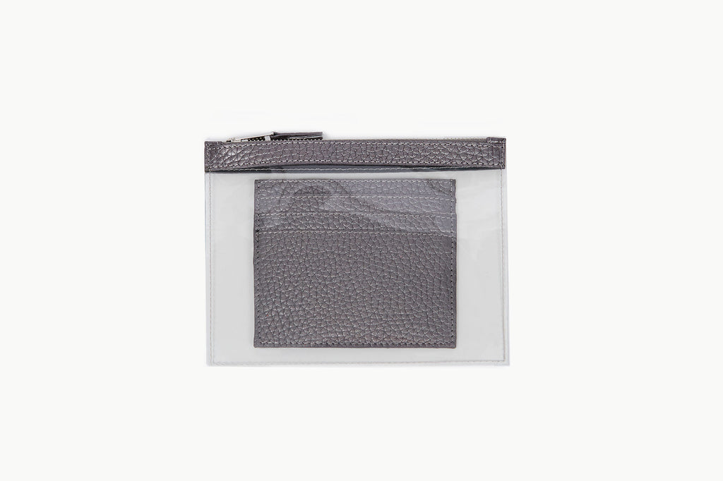 Photo of Death in Paris Mini Vasistas Gunmetal metallic silver nappa leather and clear pvc wallet