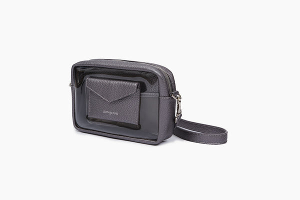 Photo of Death in Paris Piscine Gunmetal metallic silver nappa leather and clear pvc cross body bag