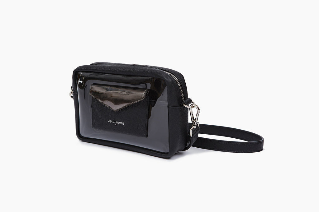 Photo of Death in Paris Piscine Noir Metal black nappa leather and clear pvc cross body bag