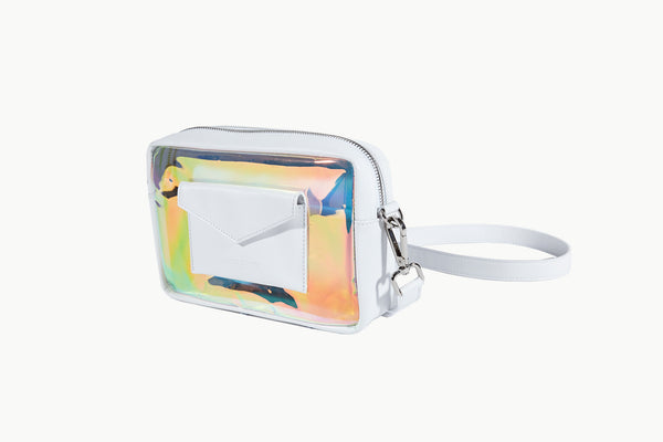 Photo of Death in Paris Piscine Blanc white nappa leather and holographic pvc cross body bag