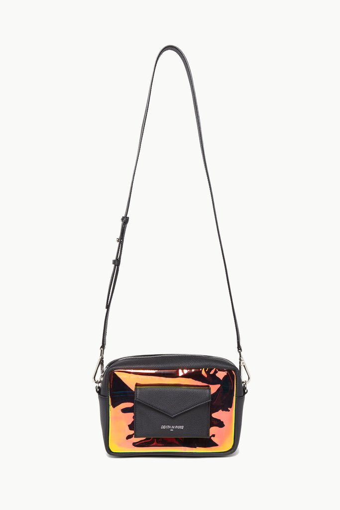 Photo of Death in Paris Piscine Noir black nappa leather and holographic pvc cross body bag