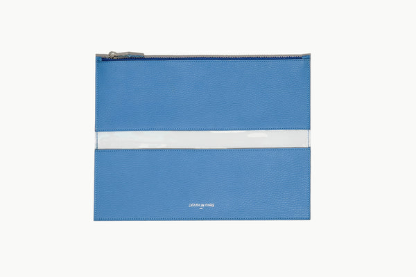 Photo of Death in Paris Rivage Bleu nappa leather and clear pvc stripe clutch bag