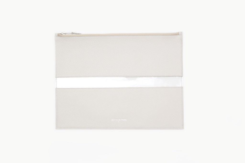 Photo of Death in Paris Rivage Acier nappa leather and clear pvc stripe clutch bag