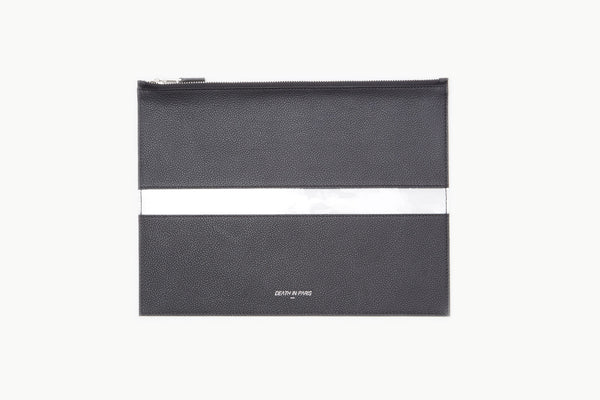 Photo of Death in Paris Rivage Noir black nappa leather and clear pvc stripe clutch bag