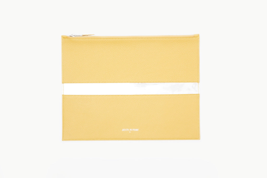Photo of Death in Paris Rivage Solar yellow nappa leather and clear pvc stripe clutch bag