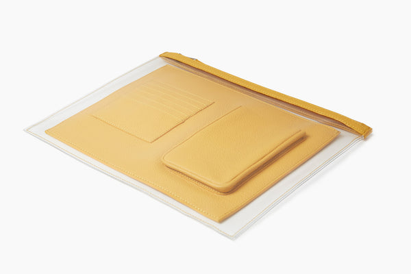Photo of Death in Paris Vasistas Solar yellow nappa leather and clear pvc organizer clutch bag