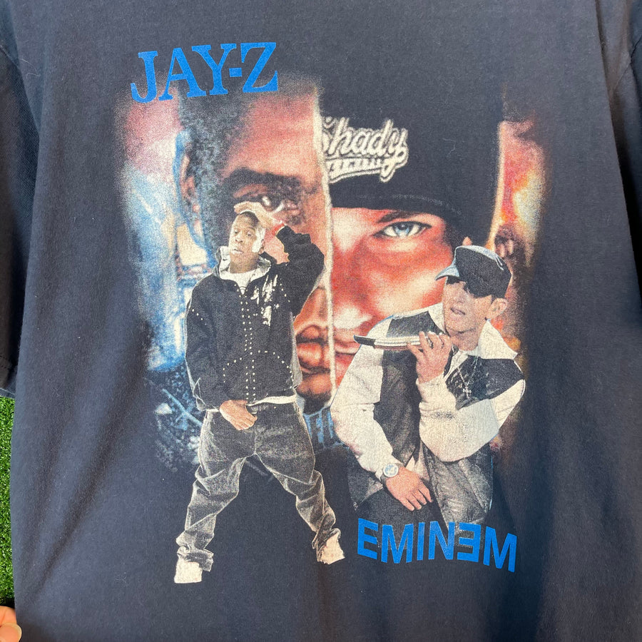 Vintage Jay Z And Eminem Tour Navy T Shirt