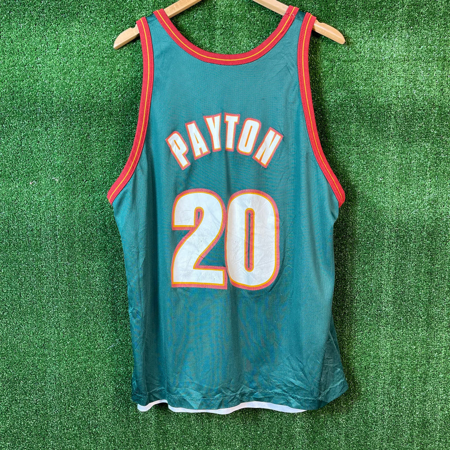 Vintage Champion Gary Payton Reversible Seattle Sonics NBA Basketball Jersey