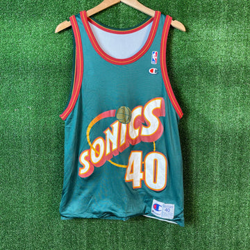 Vintage Champion Shawn Kemp Seattle Sonics Reversible NBA Basketball Jersey
