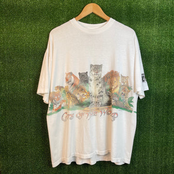 Vintage Cats Of The World Wrap Around Print T Shirt