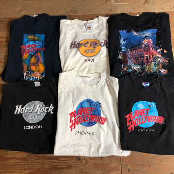 Vintage Wholesale Tshirt Bundle -Planet Hollywood + Hardrock Cafe #1 (6 pieces)