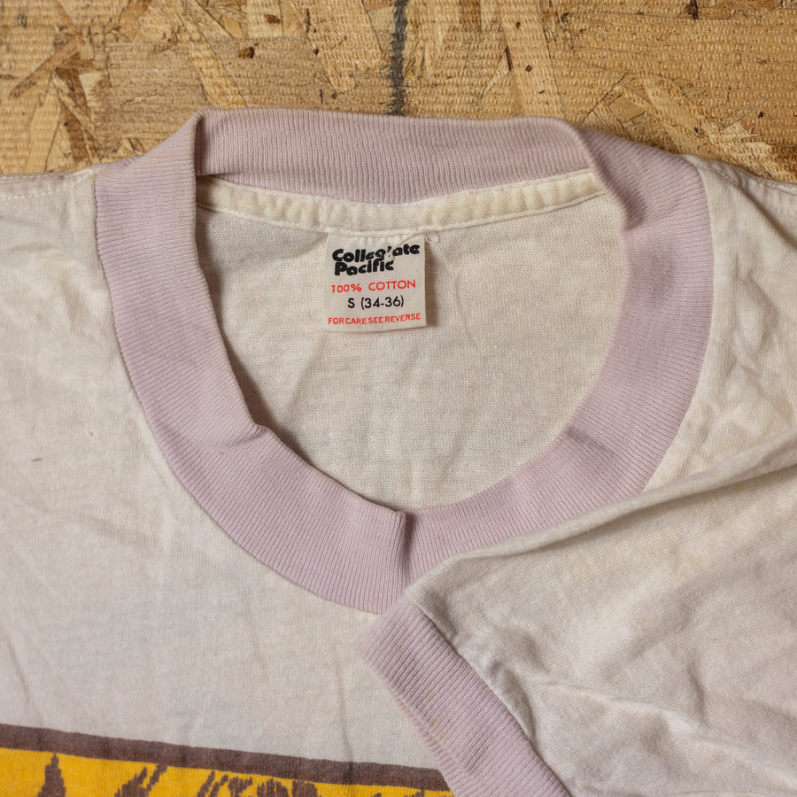 "Vintage ""Peaches Records & Tapes"" Single Stitch Ringer T-Shirt sz S"
