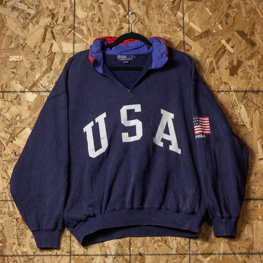 Vintage Polo USA Zip-Away-Hood Sweater sz L
