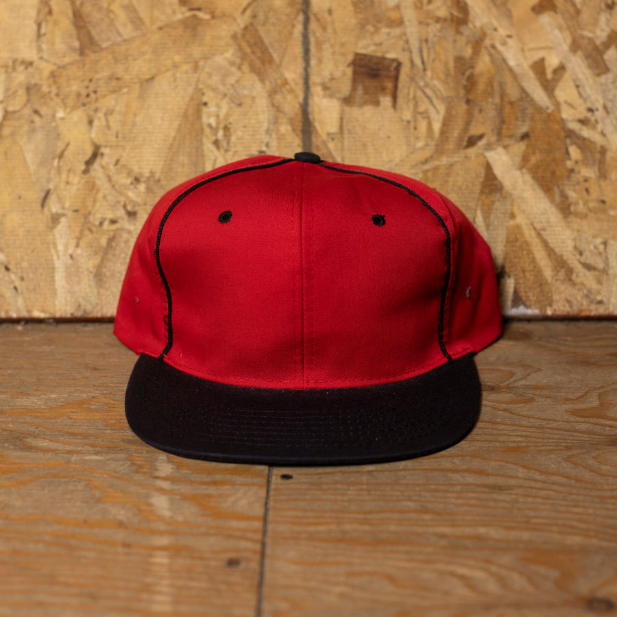 Deadstock Red W/ Black Rim Blank Snapback Hat
