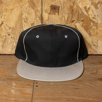Deadstock Black W/ Grey Rim Blank Snapback Hat