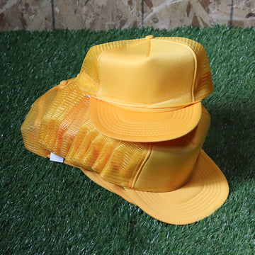 Wholesale Deadstock Yellow Snapback Trucker Hats (Lot of 12)