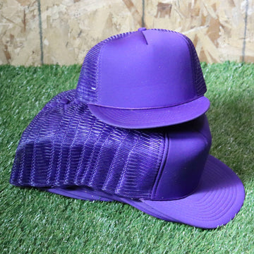 Wholesale Deadstock Purple Snapback Trucker Hats (Lot of 12)