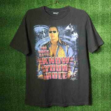 Vintage WWF Rock Johnson The Rock Says Know Your Role T-Shirt SZ N/A