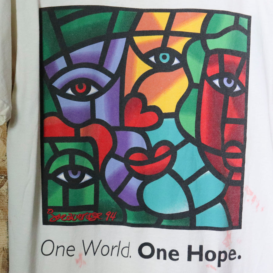 Vintage 90s One World One Hope Art T-Shirt Size M