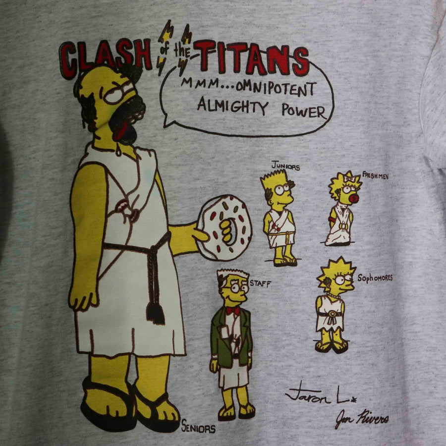 Vintage The Simpsons The Seniors Clash Of The Titans T-Shirt SZ M