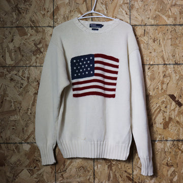 Vintage Polo Ralph Lauren American Flag Knit Sweater Size L
