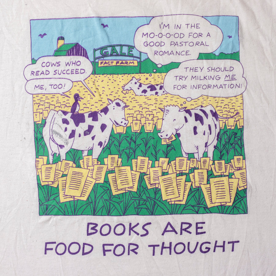 Vintage Books and Cows Single Stitch T-Shirt sz XL