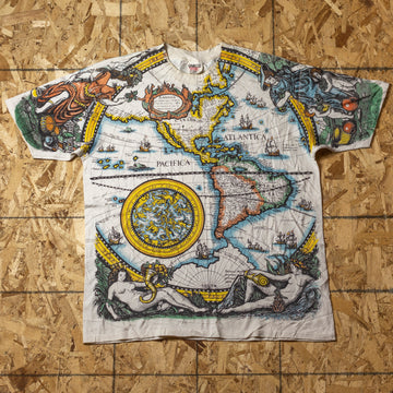 Vintage Map AOP Single Stitch T-Shirt sz XL