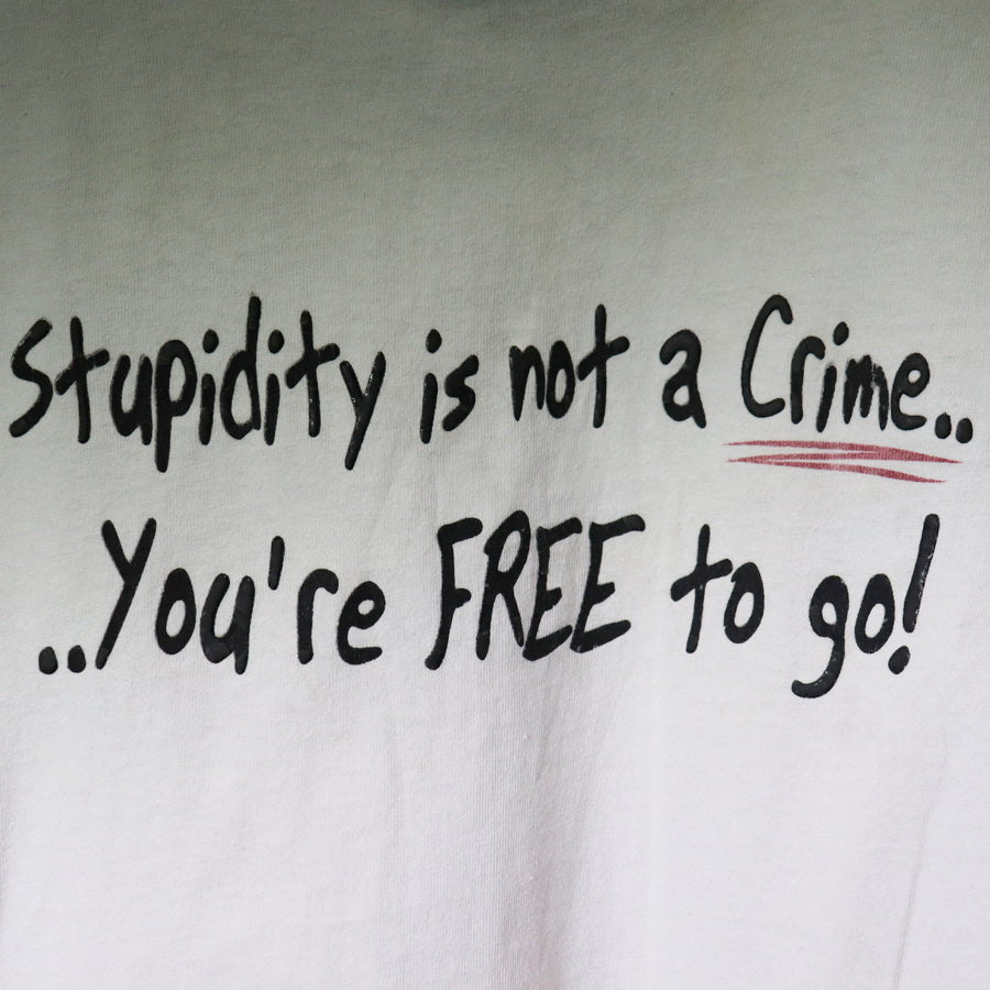 Vintage Stupidity Is Not A Crime T-Shirt SZ L