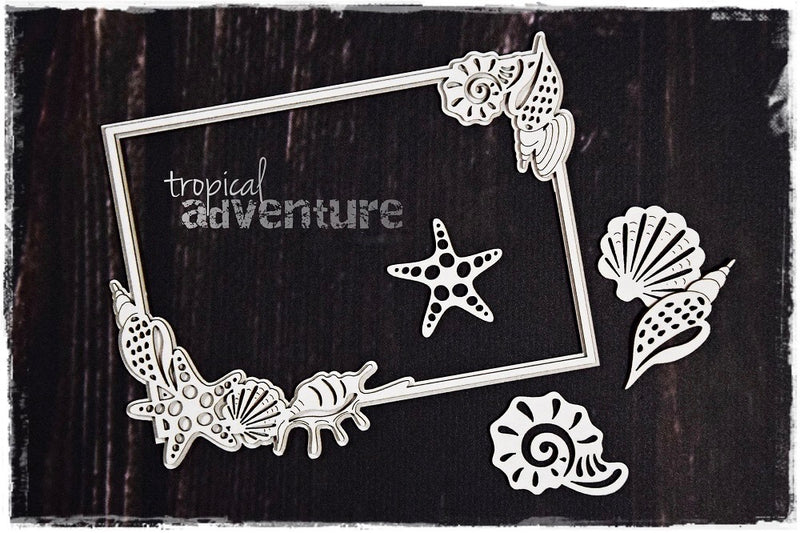 SnipArt Tropical Adventure - Shell Frame Rectangle Layered (M)