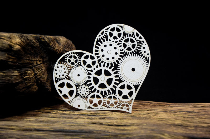SnipArt Industrial Factory - Cog Heart with Border (M)