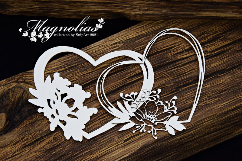 SnipArt - Magnolias - Open Magnolia Layered Heart Frame