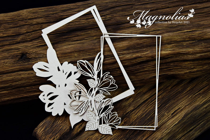 SnipArt - Magnolias - Rectangle Layered Frame