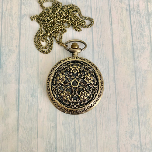 Large Pocket Watch: Brass Rose