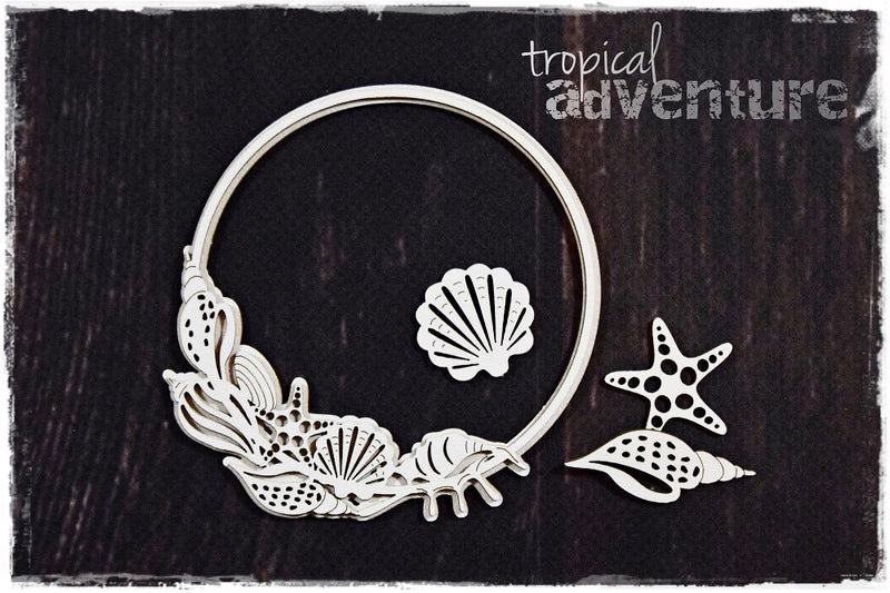 SnipArt Tropical Adventure - Shell Frame Round Layered (M)