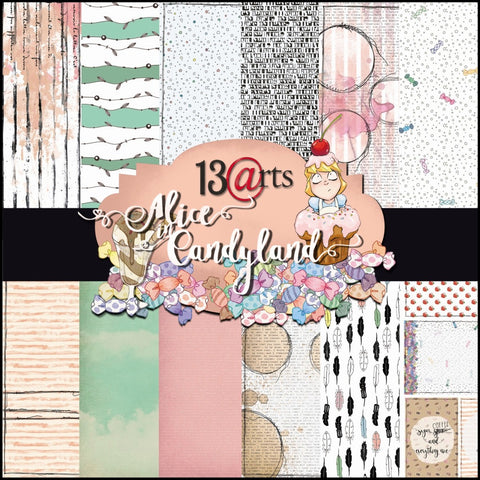 13Arts 12x12 Scrapbooking Papers Alice in the Candyland (UK stock)