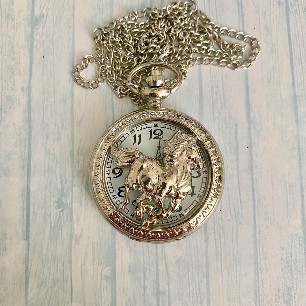 Large Pocket Watch: Silver Stallion