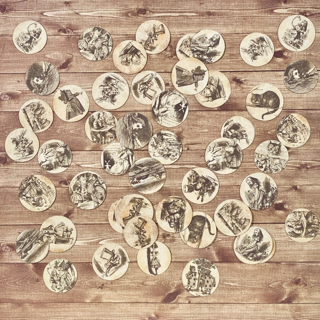 Alice in Wonderland Original Artwork Paper Coins