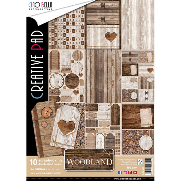Ciao Bella A4 Creative Pad - Woodland (10 sheets)