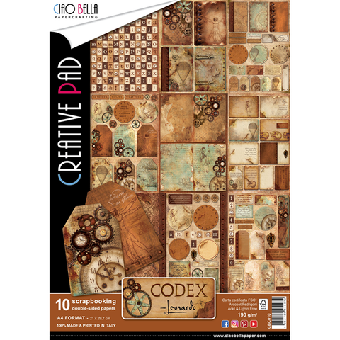 Ciao Bella A4 Creative Pad - Codex Leonardo (10 sheets)
