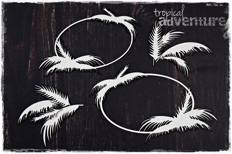 SnipArt Tropical Adventure - Palm Tree Frames Round (L)