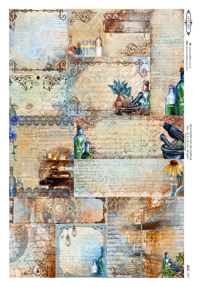 Decoupage Rice Paper - The Alchemist Labels (A4)