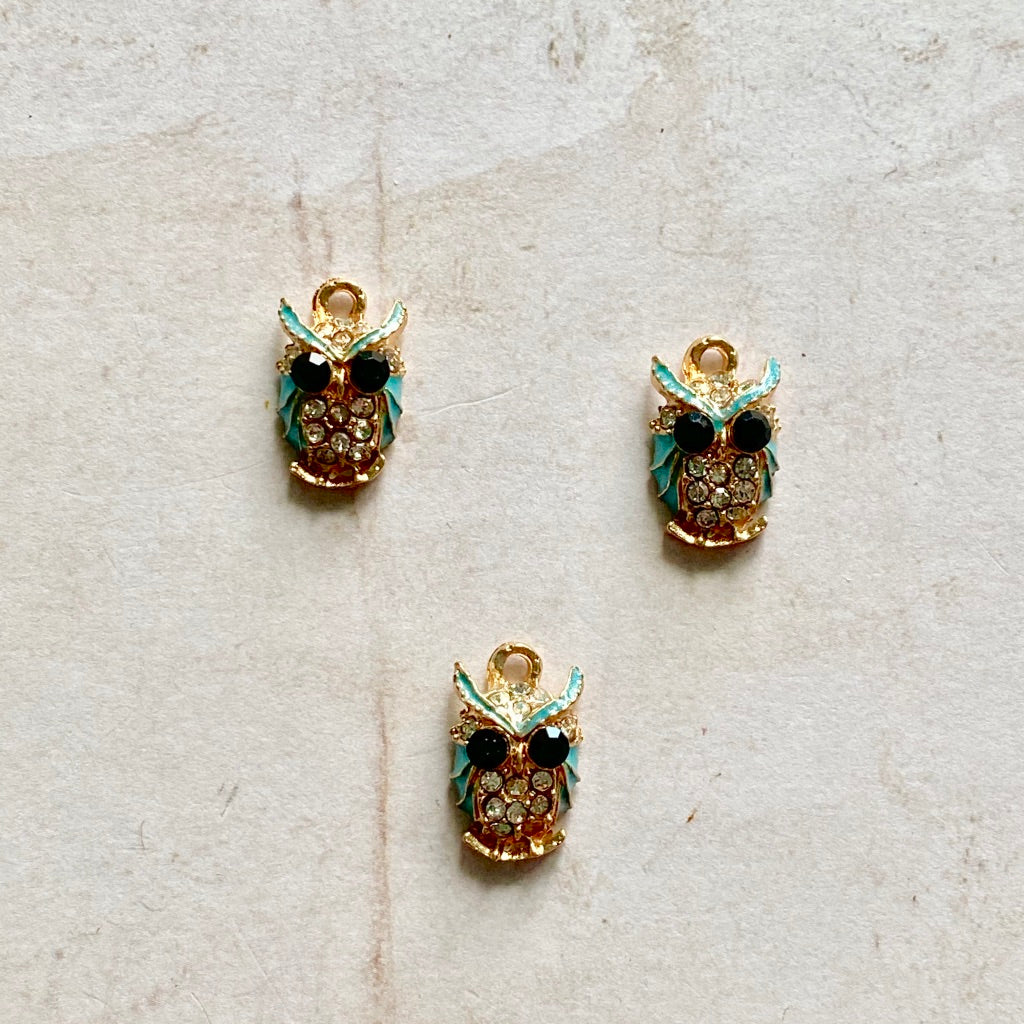 Itsy Bitsy - Crystal and Turquoise Enamel Owls